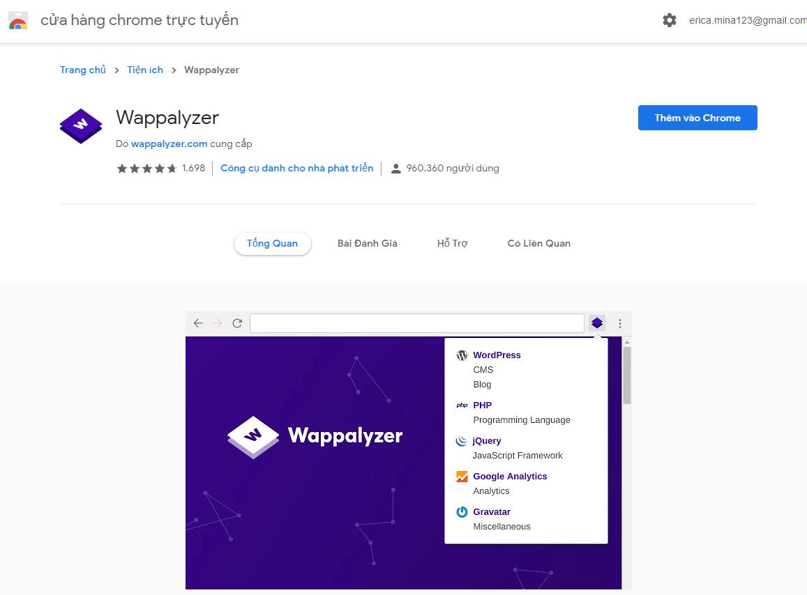 1 353 - Hướng dẫn phân tích mã nguồn và công nghệ của một website bất kỳ qua công cụ Wappalyzer