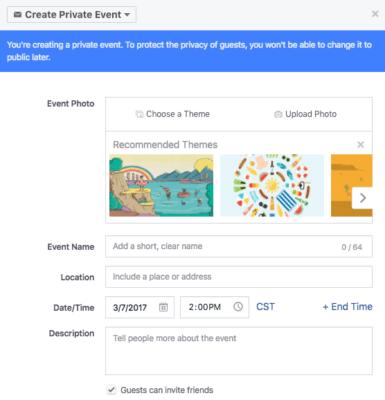 tạo một ví dụ sự kiện facebook