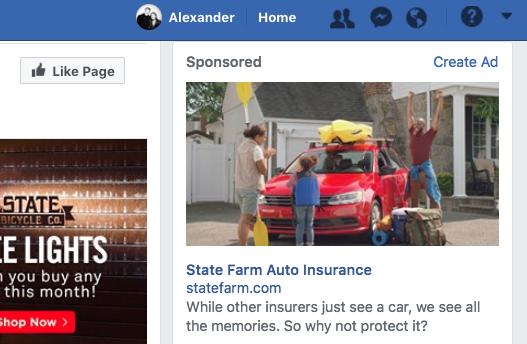 quảng cáo cột bên phải facebook