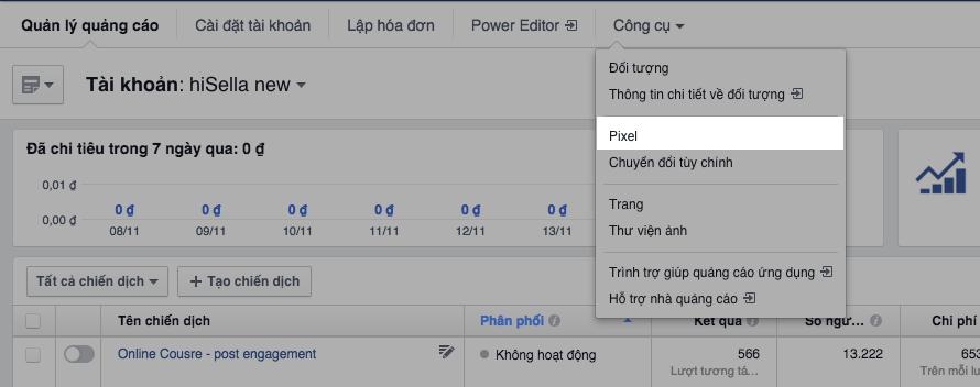 Pixel quảng cáo facebook