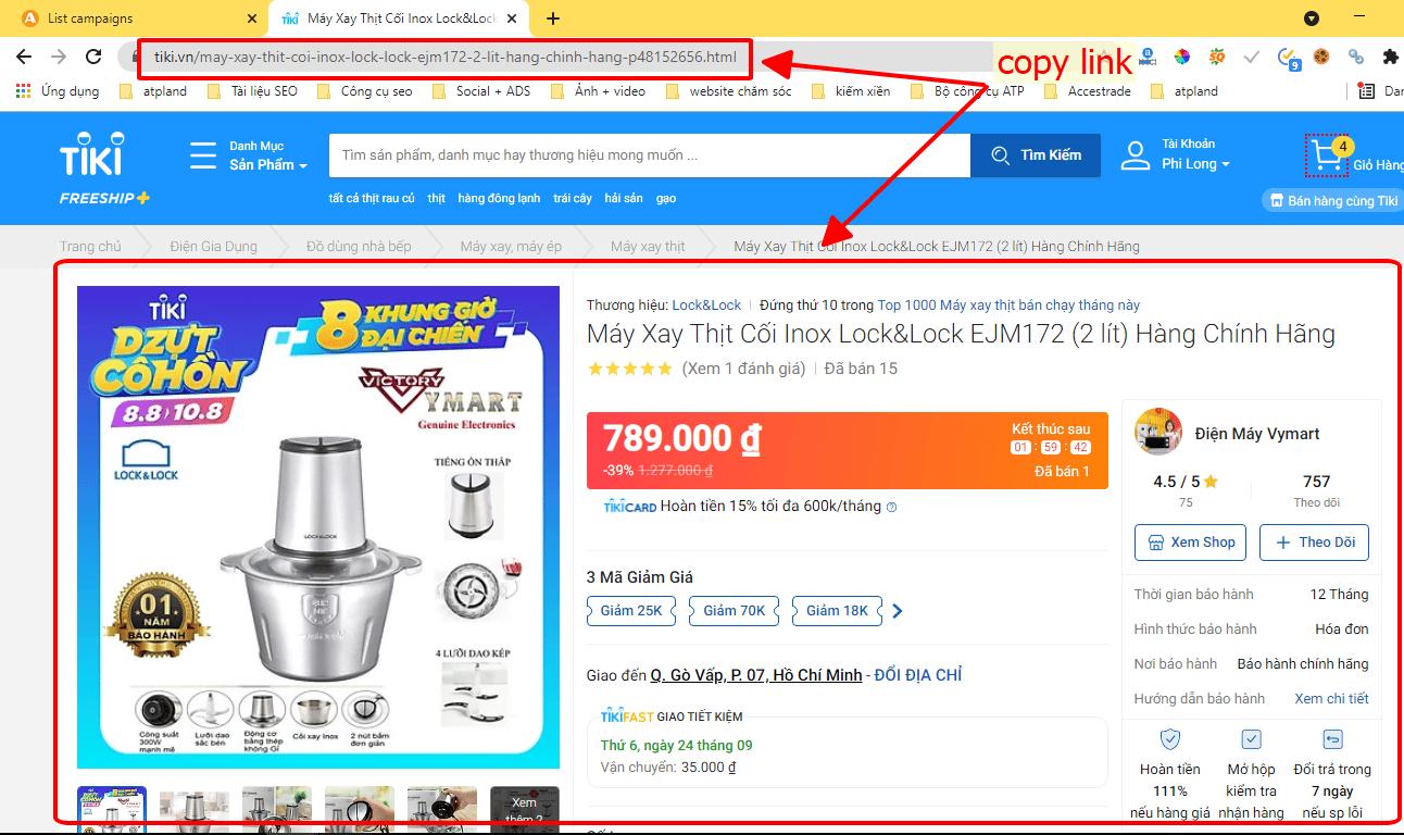 Copy link sản phẩm