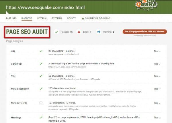 sử dụng audit công cụ seo quake