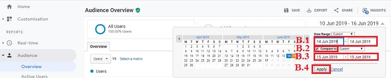 Cách lựa chọn ngày để so sánh lượng truy cập