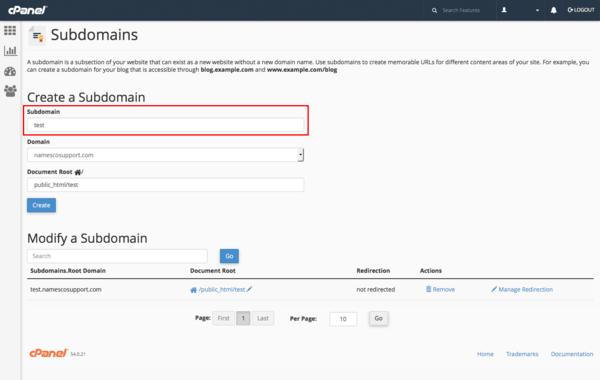 Điền Subdomain, chọn Domain chính, điều chỉnh Subdomain nằm trong thư mục của Domain chính và chọn Create