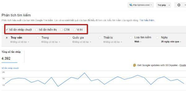 dùng google webmaster tool phân tích tìm kiếm