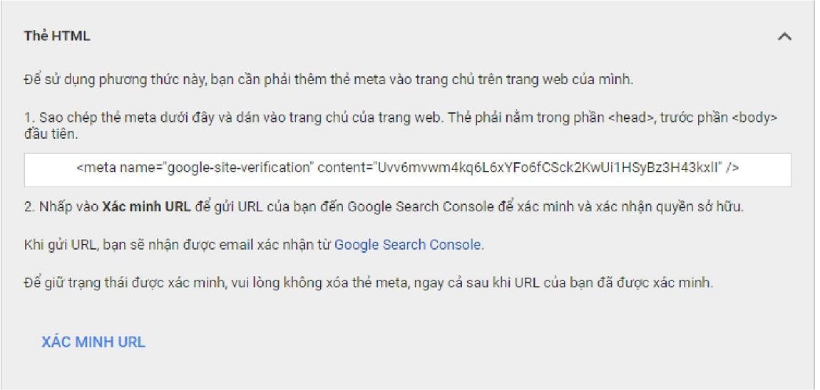 Xác minh Google Merchant bằng thẻ html