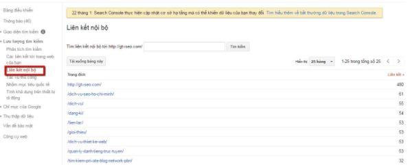 google search console liệt kê internal links