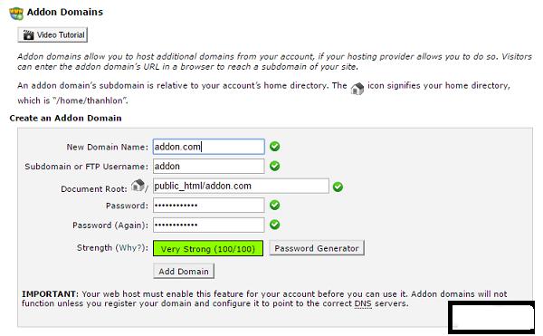 Thêm Addon Domain vào hosting cPanel