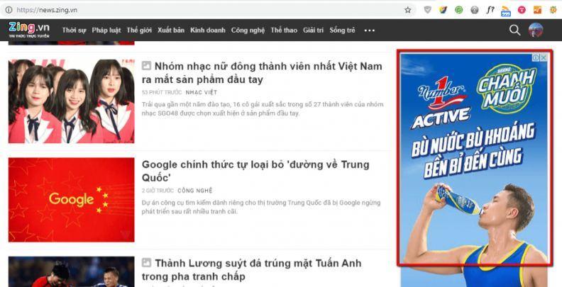 Quảng cáo GDN hiển thị trên trang new.zing.vn