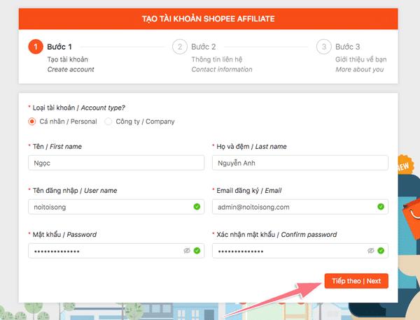 hướng dẫn đăng ký chương trình tiếp thị liên kết của shopee