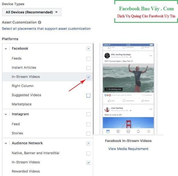 chọn vị trí quảng cáo livestream facebook