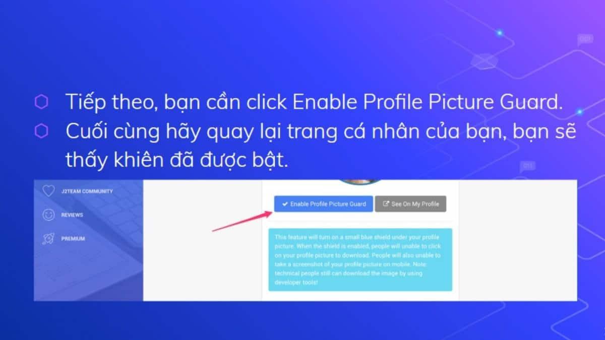 Chọn Enable Profile Picture Guard và kiểm tra Avatar ở Facebook cá nhân