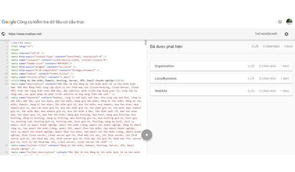 Hệ thống trả về thông tin các loại dữ liệu có cấu trúc trong URL