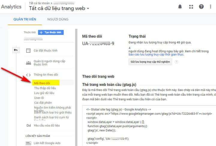 Cách lấy mã Google Analytics