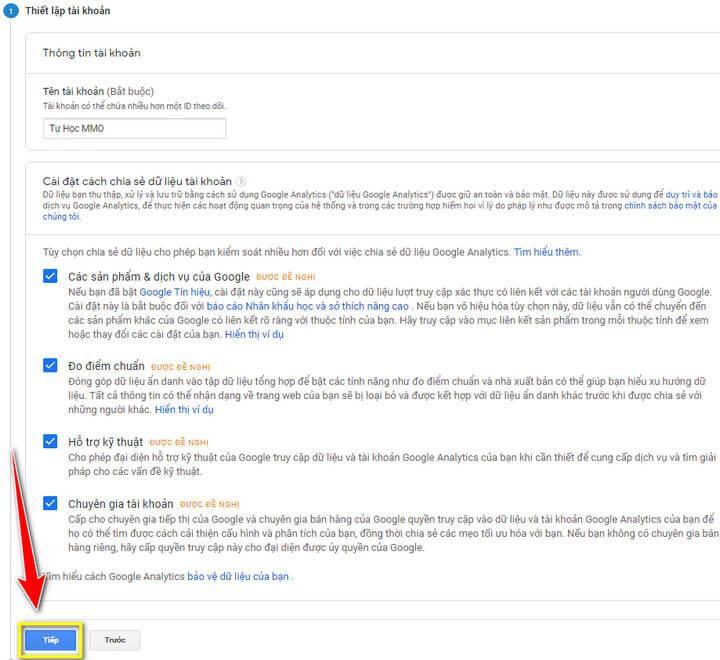 Thiết lập tài khoản Google Analytics