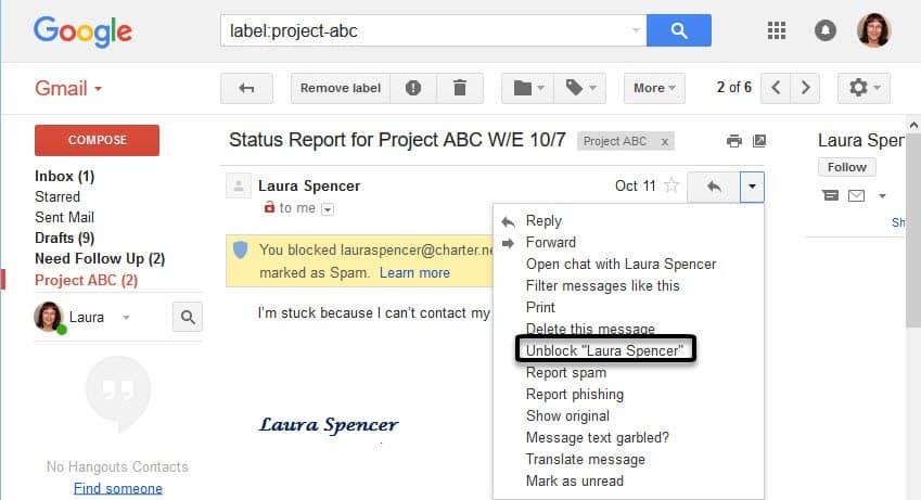 Cách chặn Spam mailtrong gmail