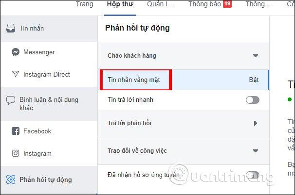 Cách tạo tin nhắn trả lời tự động fangpage