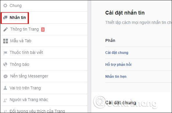Cài đặtvà quản lý tin nhắnfanpage