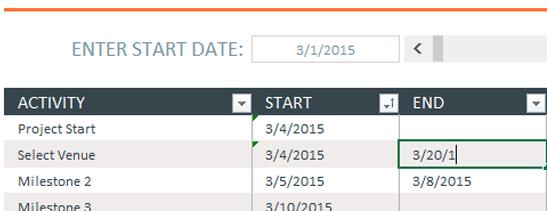 Thêm ngày vào mẫu dòng thời gian Excel