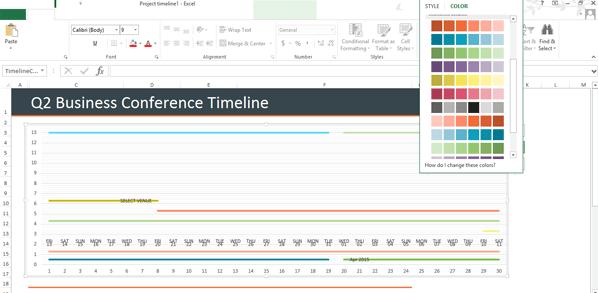 Thay đổi màu dòng thời gian trong Excel