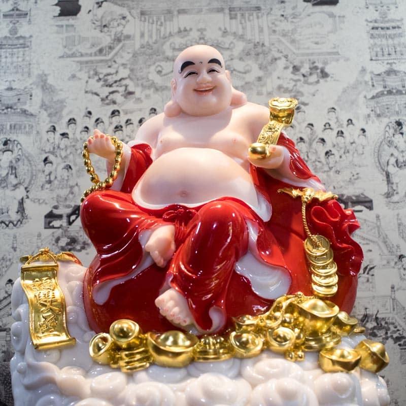 Tượng Phật Di Lặc Đẹp Bằng Bột Đá Y Áo Đỏ | Tranh Tượng Phật Thuận Duyên