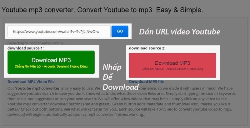Tải mp3 trên Youtube bằng công cụ listentoyoutube
