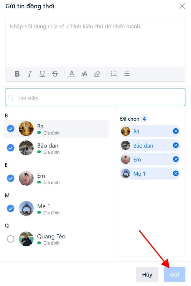 Đến đây màn hình sẽ hiện ra từng thành viên bạn đã gửi tin nhắn, vậy là chúng ta đã thành công trong công việc gửi tin nhắn cho nhiều đối tượng hàng loạt cùng một lúc đồng thời ^^