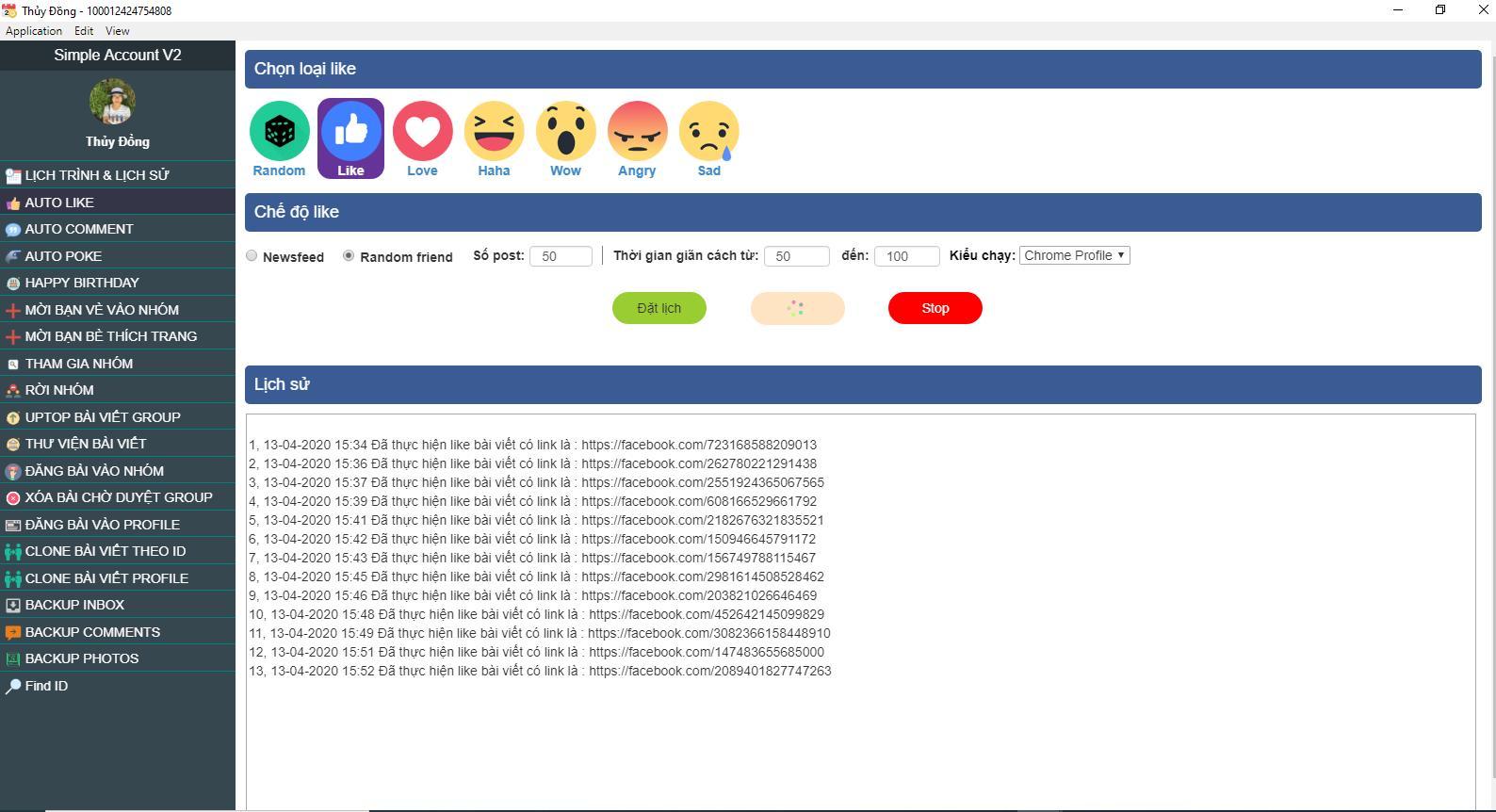 Tự động tương tác BOT cảm xúc facebook