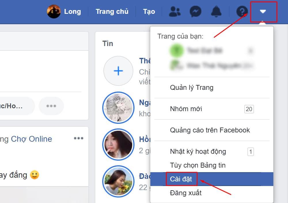 Kết quả hình ảnh cho nút cài đặt trên facebook pc