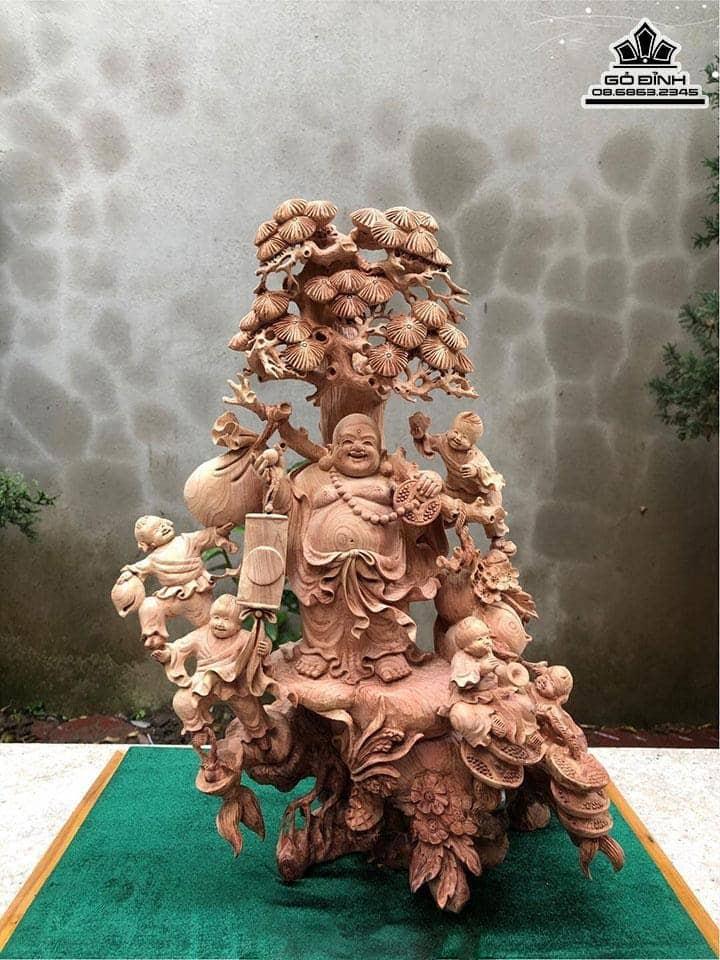 Tượng Phật Di Lặc Ngũ Phúc Gỗ Tùng Tuyết