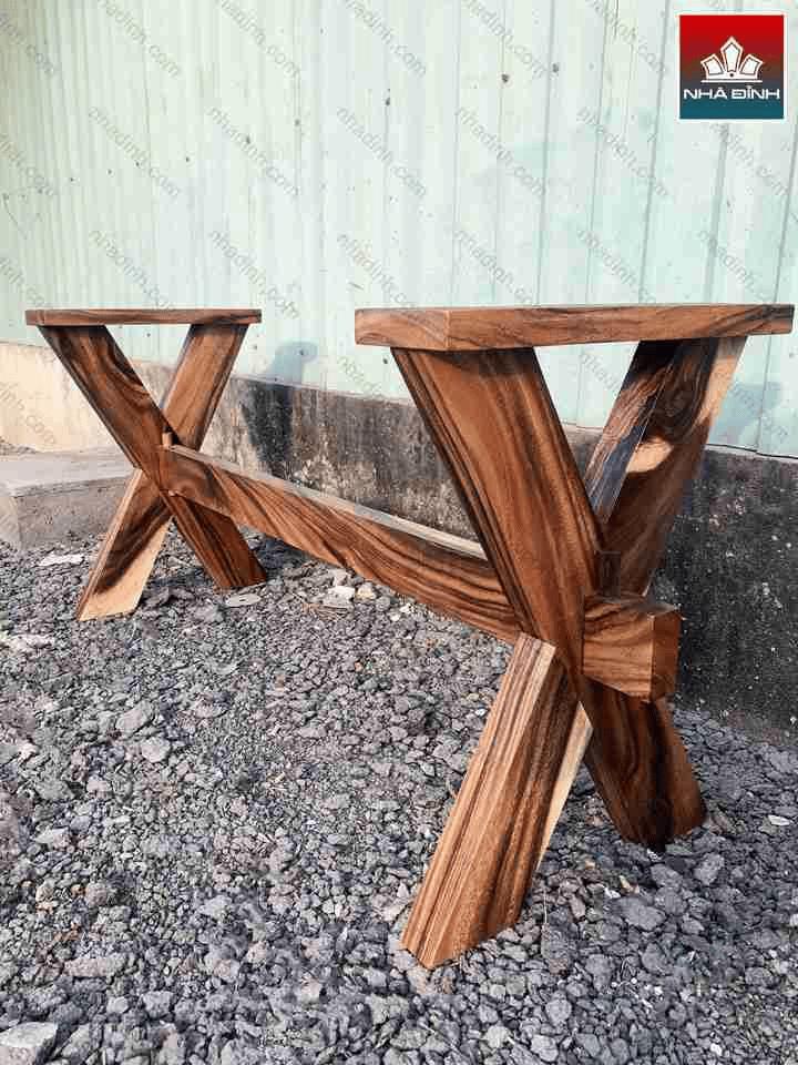 Chân bàn chữ X gỗ Me Tây