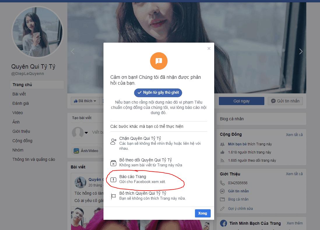 Cách report page facebook mở áp dụng Facebook > Tìm trang cá nhân bạn muốn báo cáo.