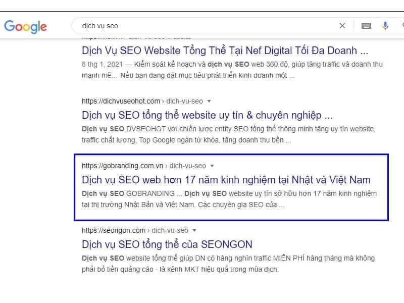 """Thứ hạng """"dịch vụ SEO"""" của đơn vị hợp tác nên nằm trong top tìm kiếm của Google"""